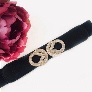 Accessories - Gold & Rhinestone Black Statement Stretch Belt XS